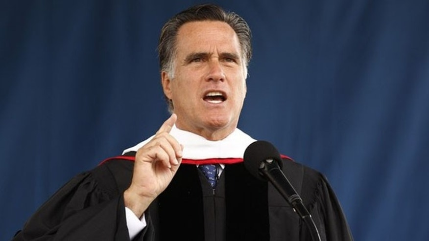 May 12, 2012: Mitt Romney speaks at the Liberty University commencement ceremony in Lynchburg, Va.