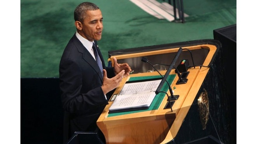 Sept. 25, 2012: President Obama addresses the 67th session of the General Assembly at United Nations headquarters.