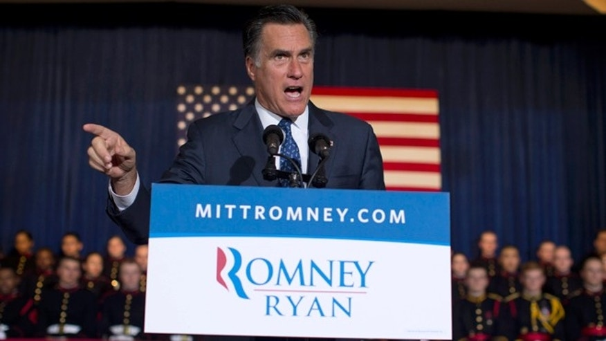 Sept. 28, 2012: Republican presidential candidate, former Massachusetts Gov. Mitt Romney speaks in Wayne, Pa.