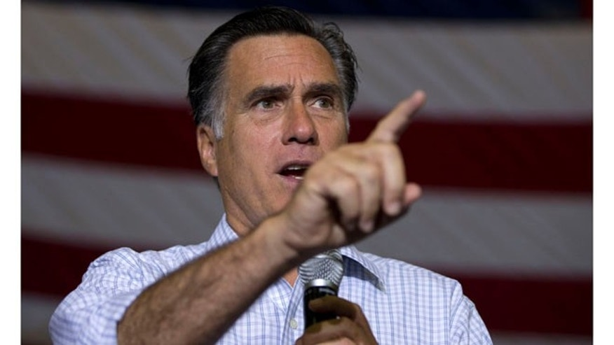 Sept. 26, 2012: Republican presidential candidate Mitt Romney speaks during a campaign rally in Westerville, Ohio.