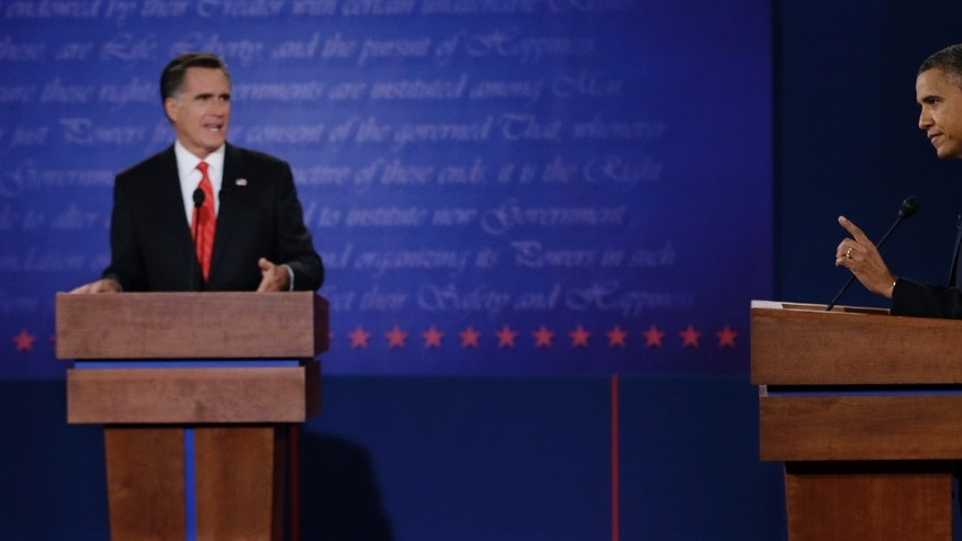 Oct. 3, 2012: President Obama and Mitt Romney debate in Denver.