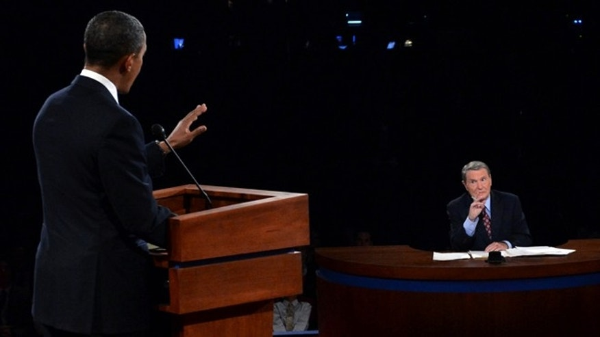 Oct. 3, 2012: President Barack Obama answers a question of moderator Jim Lehrer during the first presidential debate.