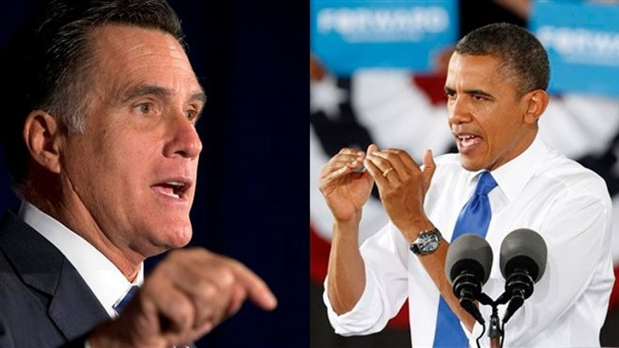 Mitt Romney and President Obama are shown campaigning in Virginia Sept. 27, 2012.