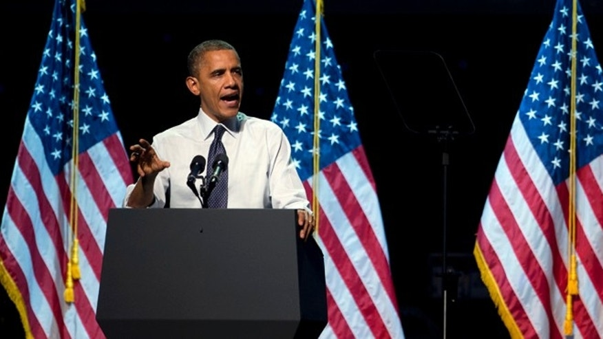 Oct. 7, 2012: President Barack Obama speaks at a campaign event at the Nokia Theater in Los Angeles.