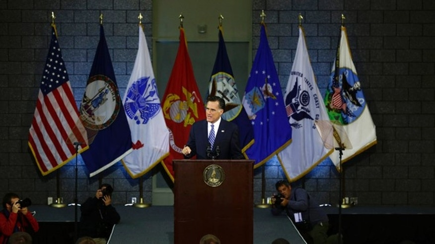Oct. 8, 2012: Mitt Romney delivers a foreign policy speech at Virginia Military Institute (VMI) in Lexington, Va.