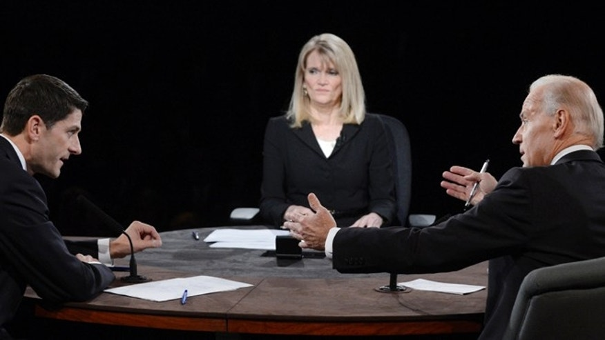 Oct. 11, 2012: Moderator Martha Raddatz watches as  Joe Biden and Paul Ryan participate in the vice presidential debate.