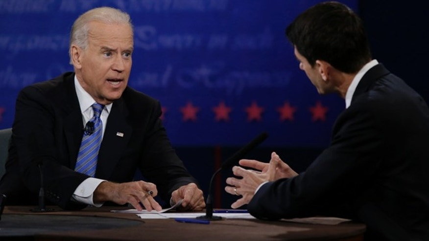 Oct. 11, 2012: Paul Ryan and Joe Biden discuss a point during the vice presidential debate.