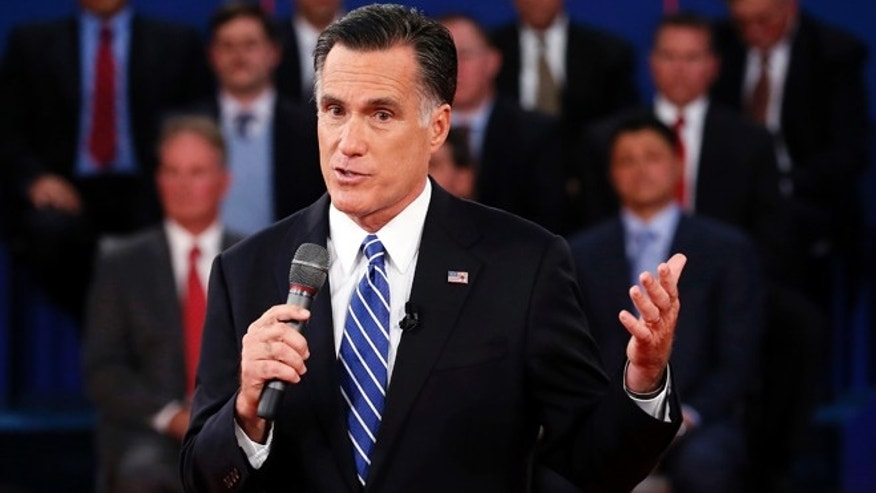 Oct. 16, 2012: Republican presidential nominee Mitt Romney answers a question during the second presidential debate.