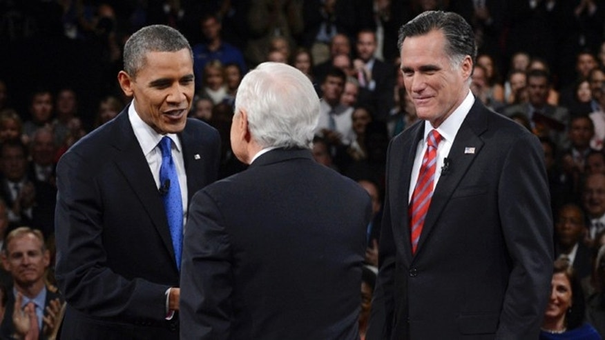 Oct. 22: President Obama is greeted by moderator Bob Schieffer, center, as Republican presidential nominee Mitt Romney stands nearby at the start of the third presidential debate at Lynn University, in Boca Raton, Fla.