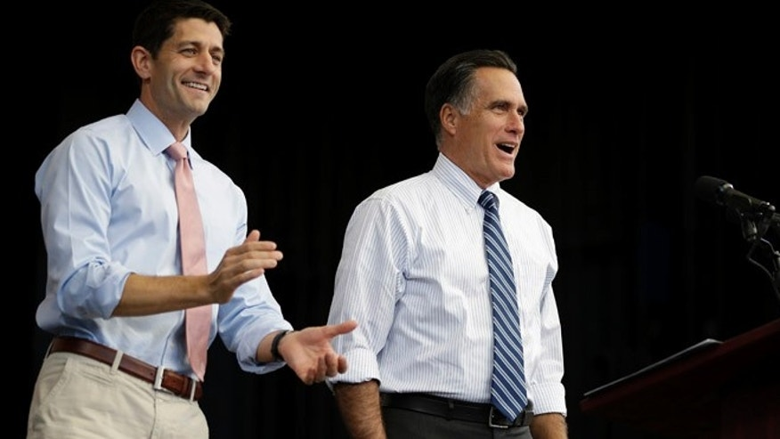 Oct. 23, 2012: Republican presidential candidate Mitt Romney, right, and  his vice presidential running mate Paul Ryan in Henderson, Nev.