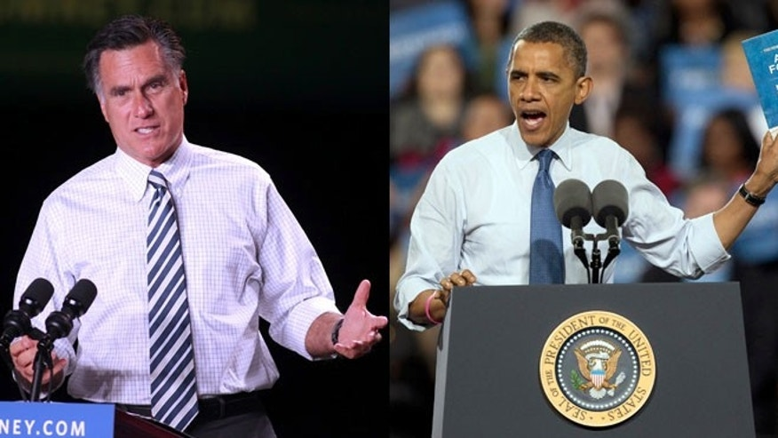Oct. 24, 2012: Mitt Romney and President Obama are shown campaigning at separate events in Nevada.
