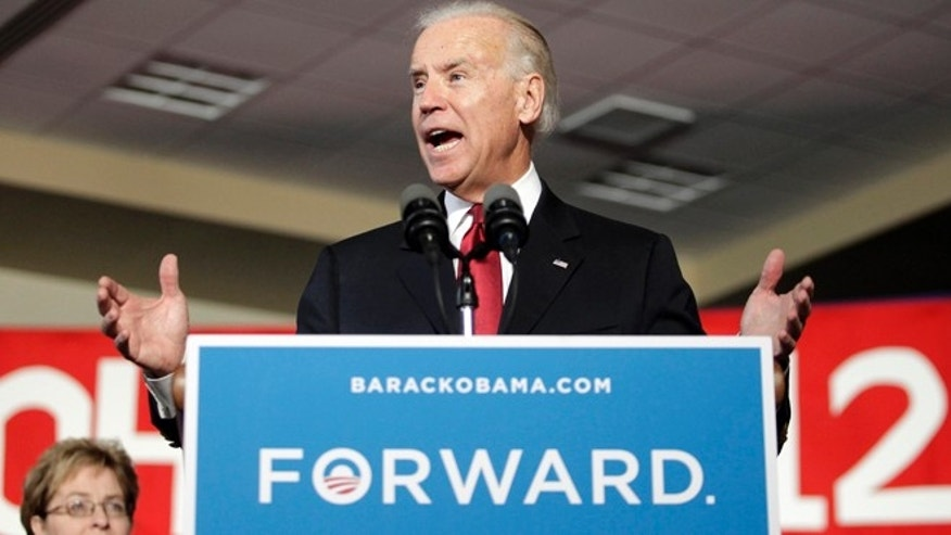 Oct. 23, 2012: Vice President Joe Biden gesture while speaking at a campaign rally in Toledo, Ohio.
