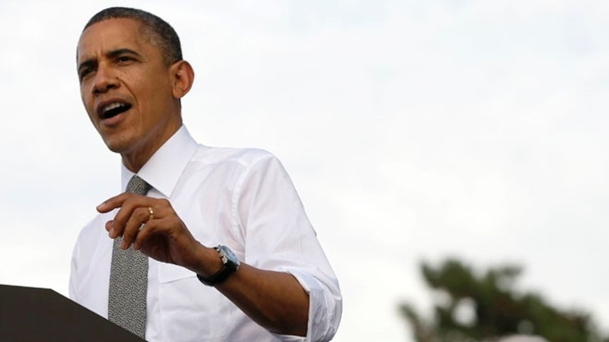 Oct. 23, 2012: President Obama speaks during a campaign event at Triangle Park in Dayton, Ohio.