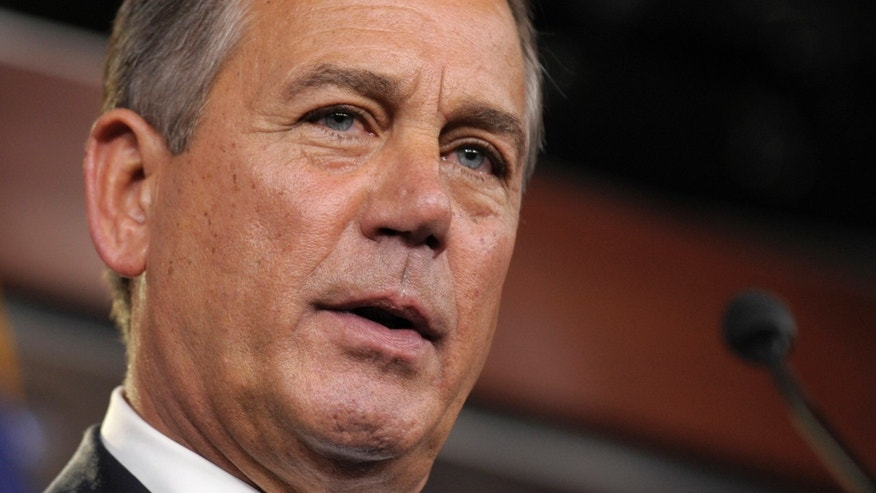 FILE: Nov. 9, 2012:  House Speaker John Boehner of Ohio speaks at a news conference on Capitol Hill in Washington.