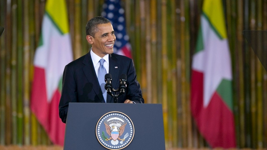 YANGON, Myanmar - President Barack Obama speaks at the University of Yangon during his historical first visit to the country on November 19, 2012 in Yangon, Myanmar.