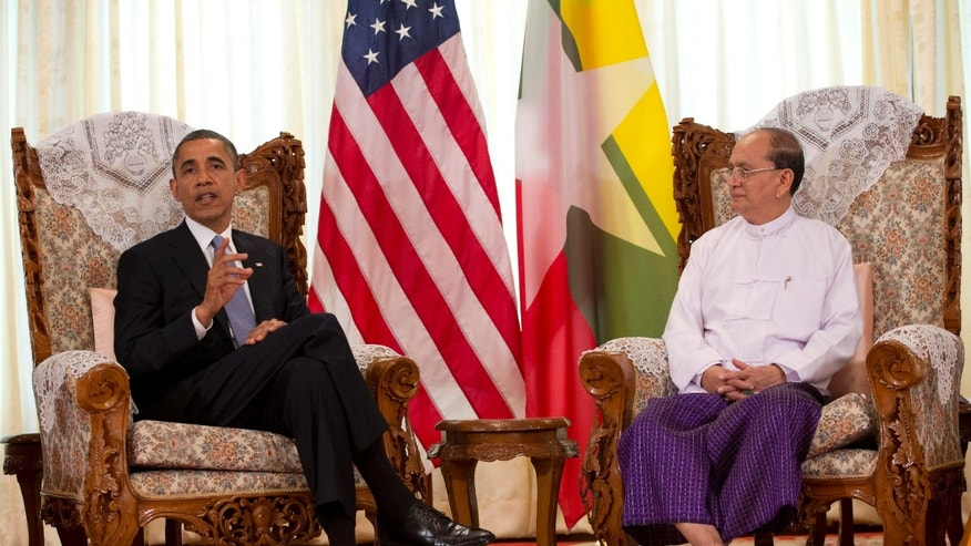 Nov. 19, 2012: U.S. President Barack Obama meets with Myanmar's President Thein Sein at Yangon Parliament Building in Yangon, Burma.