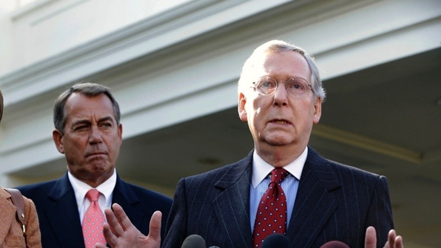 FILE: Friday, Nov. 16, 2012: Senate Minority Leader Mitch McConnell and  House Speaker John Boehner outside the White House in Washington.