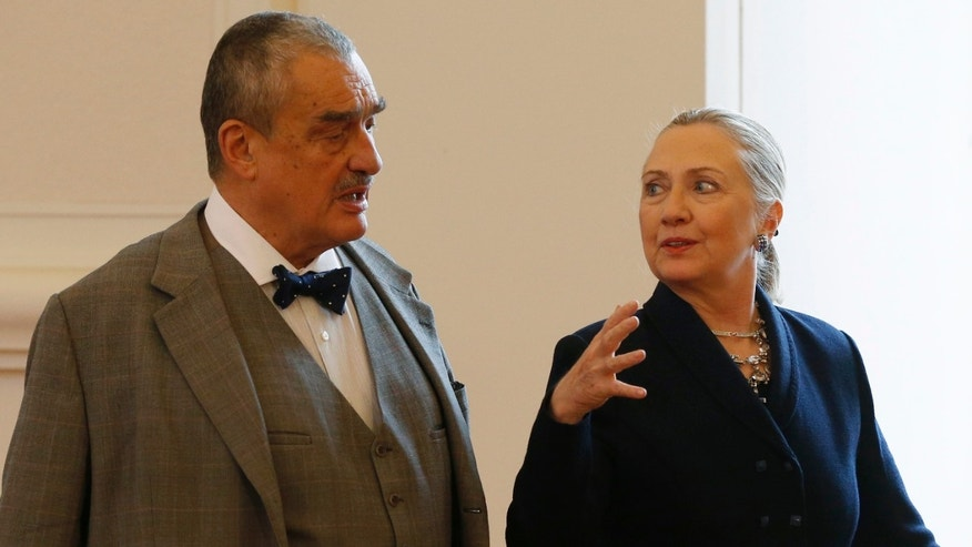 Dec. 3, 2012: Czech Republic's Foreign Minister Karel Schwarzenberg, left, and US Secretary of State Hillary Rodham Clinton, right, arrive for their press conference in Prague, Czech Republic.