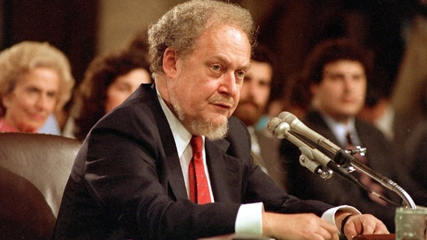 Sept. 16, 1987: U.S. Supreme Court nominee Robert H. Bork testifies before the Senate Judiciary Committee during his confirmation hearings on Capitol Hill.