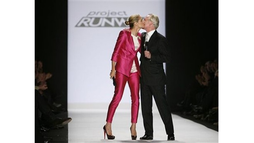 Feb. 20, 2009: Heidi Klum and Tim Gunn kiss after the Project Runway Season 6 Finale show during Fashion Week in New York.