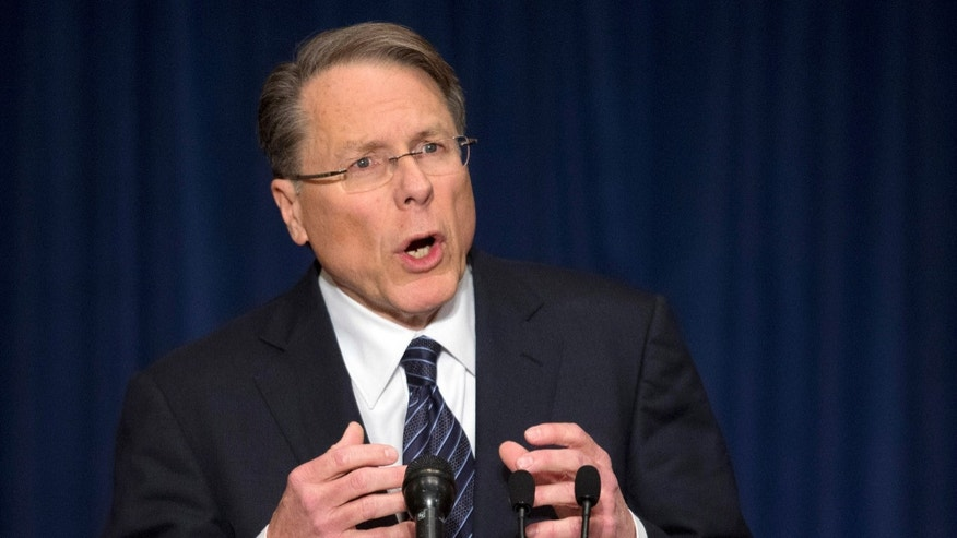 The National Rifle Association executive vice president Wayne LaPierre, during a news conference in response to the Connecticut school shooting on Friday, Dec. 21, 2012 in Washington.