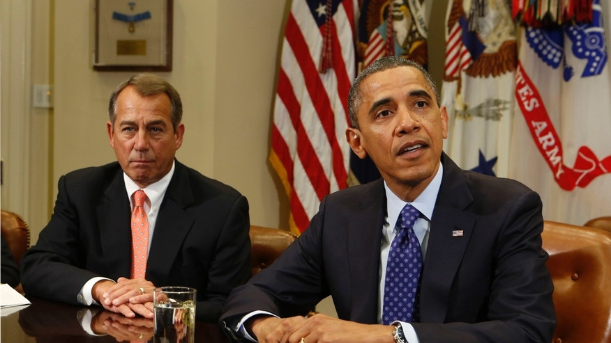 FILE: Nov. 16, 2012: President Obama and House Speaker John Boehner meet in the White House's Roosevelt Room, Washington, D.C.