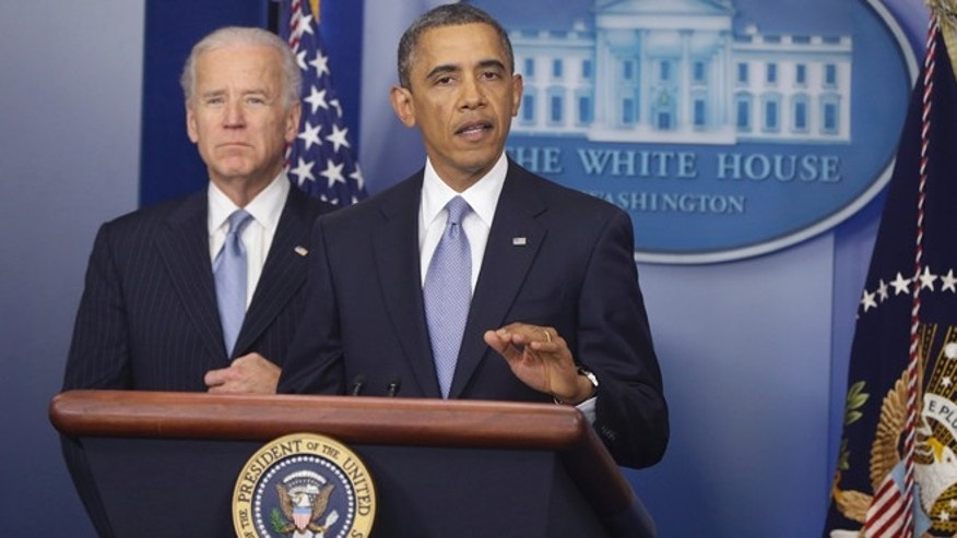 Jan. 1, 2013: President Barack Obama and Vice President Joe Biden makes a statement regarding the passage of the fiscal cliff bill in the Brady Press Briefing Room at the White House.