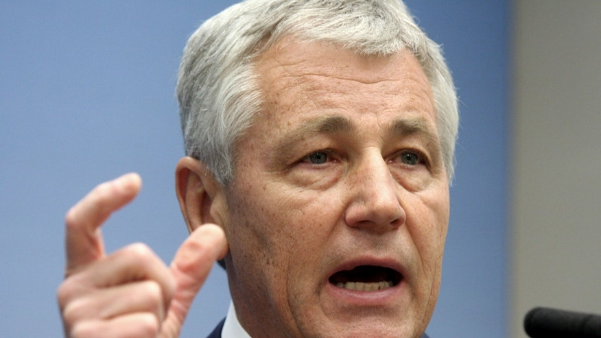 FILE: In this June 26, 2008 file photo, then Sen. Chuck Hagel, (R-Neb.,) speaks on foreign policy at the Brookings Institution in Washington.