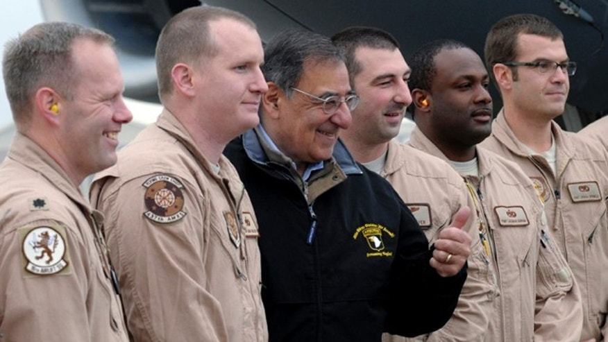 Dec. 14, 2012: U.S. Defense Secretary Leon Panetta meets with troops at Kabul International Airport in Kabul, Afghanistan.