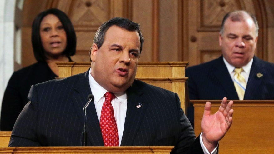 "New Jersey Senate President Stephen M. Sweeney, right, D-Thorofare,N.J., and Assembly Speaker Sheila Y. Oliver, left, D-East Orange, N.J., listen as Gov. Chris Christie delivers his State Of The State address at the Statehouse, Tuesday, Jan. 8, 2013, in Trenton, N.J. Christie promised in his annual State of the State address Tuesday that New Jersey will be back ""stronger than ever"" after Superstorm Sandy and will do it without returning to its ""old ways of wasteful spending and rising taxes."" (AP Photo/Mel Evans)"