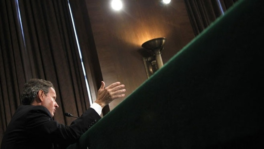In this July 26, 2012, file photo, Treasury Secretary Timothy Geithner testifies on Capitol Hill in Washington.