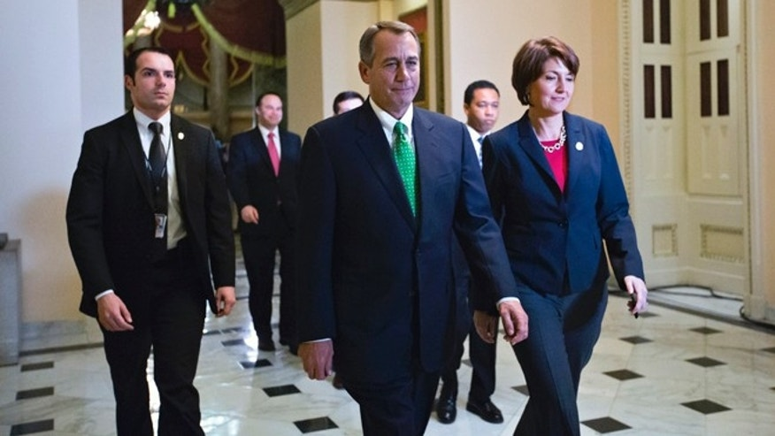 Jan. 1, 2013: Speaker of the House John Boehner, R-Ohio, and Rep. Cathy McMorris Rodgers, R-Wash., right, the Republican Conference Chair, arrive at the House of Representatives.
