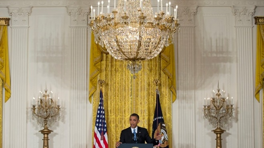 Jan. 14, 2013: President Barack Obama speaks during the final news conference of his first term.