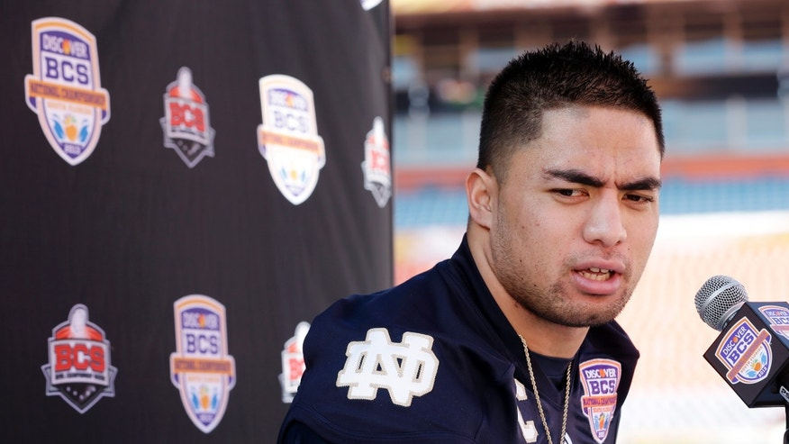 Jan. 5, 2013: Notre Dame linebacker Manti Te'o answers a question during Media Day for the BCS National Championship college football game in Miami.
