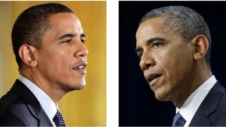 FILE - These file photos, Oct. 7, 2009, left, and Nov. 28, 2012, right, shows President Barack Obama speaking in Washington.