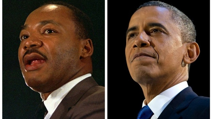 FILE - In this combination of file photos, the Rev. Martin Luther King Jr. speaks at a peace rally in New York on April 15, 1967, left, and President Barack Obama speaks at an election night party in Chicago after winning a second term in office on Nov. 7, 2012.