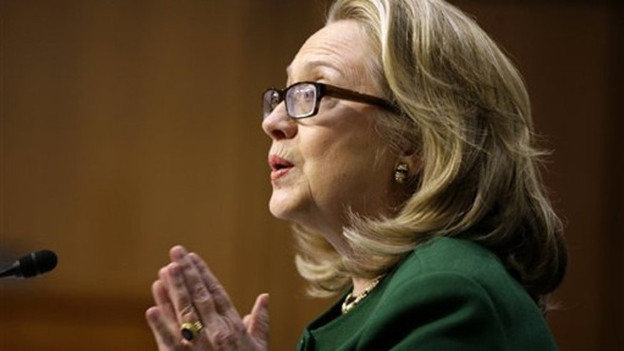 Jan. 23, 2013: Secretary of State Hillary Rodham testifies on Capitol Hill in Washington before the Senate Foreign Relations Committee hearing on the  on the U.S. diplomatic mission in Benghazi, Libya.