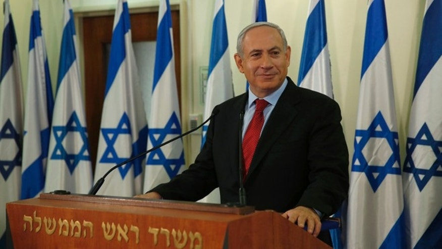 Jan. 23, 2013: Israel's Prime Minister Benjamin Netanyahu pauses while delivering a statement at his office in Jerusalem.