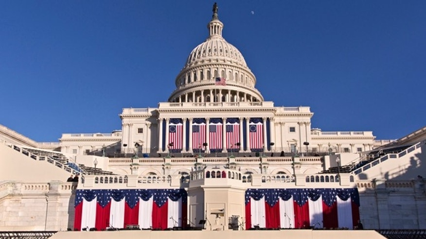 Jan. 20, 2013: The West Front of the U.S. Capitol is dressed in red, white and blue the day before President Obama's public inauguration ceremony.