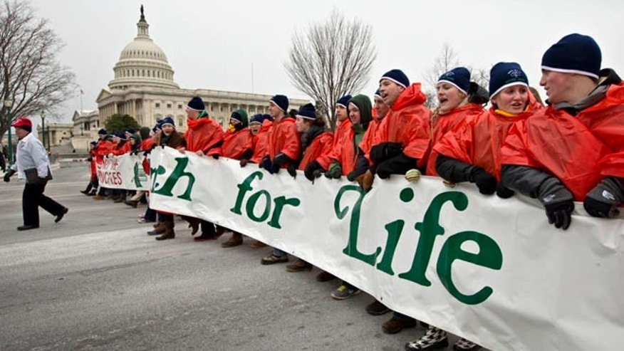 Jan. 25, 2013: Anti-abortion activists march past the Capitol in Washington to the Supreme Court as they observe the 40th anniversary of the Roe v. Wade decision.