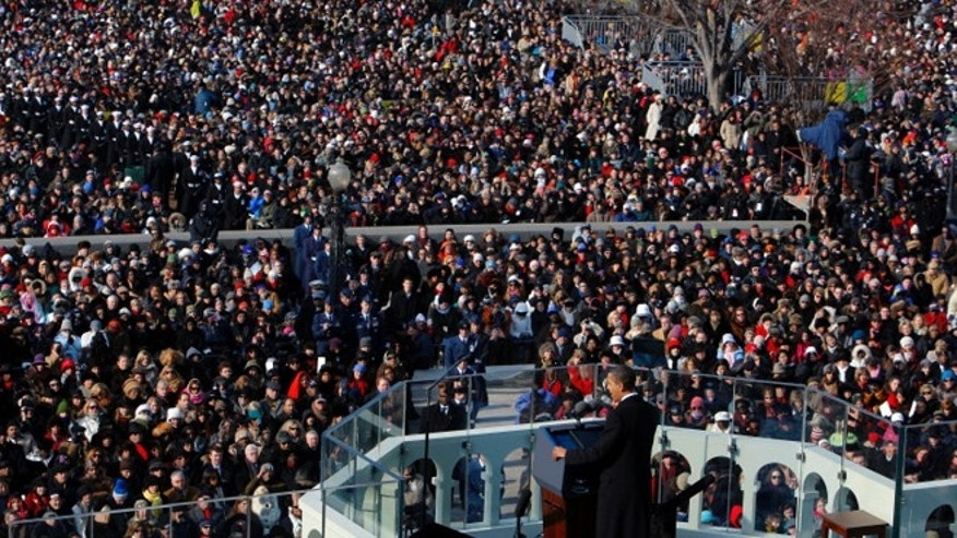 Jan. 20, 2009: President Obama is shown giving his first inaugural address in Washington.