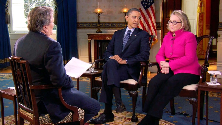 Jan. 25, 2013: File image taken from video and provided by CBS, President Barack Obama, center, and Secretary of State Hillary Rodham Clinton speak with 60 Minutes correspondent Steve Kroft, left, in the Blue Room of the White House in Washington.