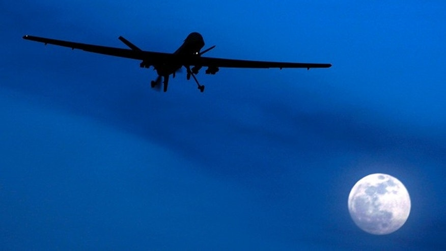 FILE: Jan. 31, 2010:  An unmanned U.S. Predator drone flies over Kandahar Air Field, southern Afghanistan.