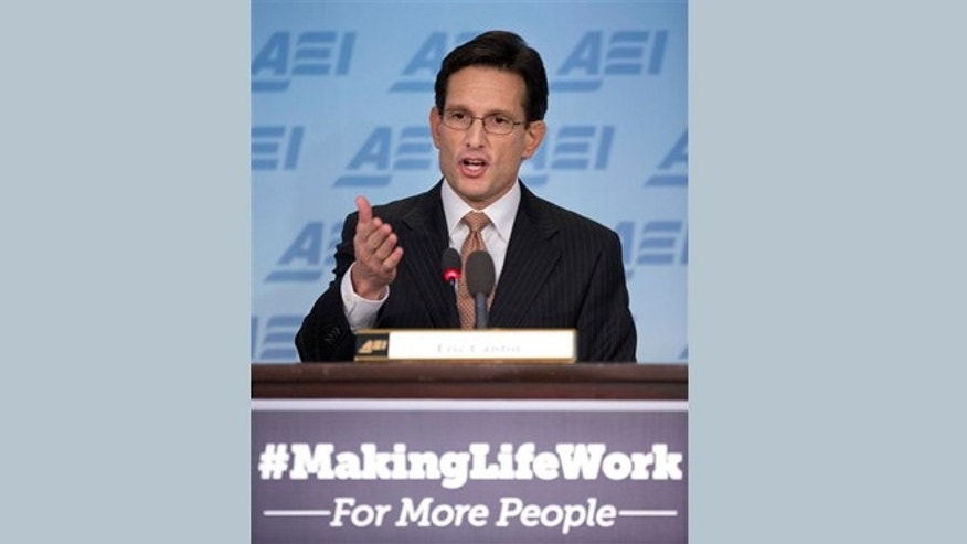 "Feb. 5, 2013: House Majority Leader Eric Cantor of Va. gestures as he gives a major policy address entitled: ""Making Life Work."" at the American Enterprise Institute (AEI) in Washington."
