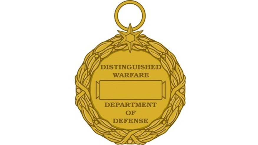 This image released by the Department of Defense shows the reverse view of the newly announced Distinguished Warefare Medal.