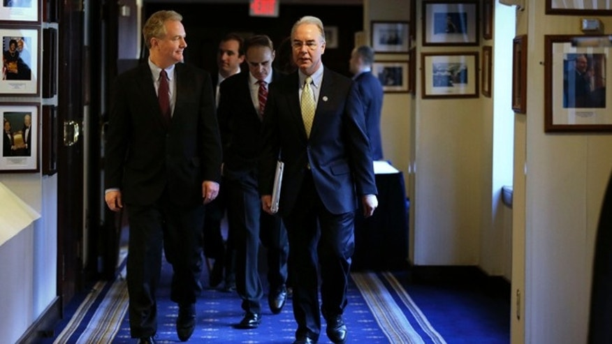 Feb. 12, 2103: House Budget Committee Vice Chairman Rep. Tom Price, R-Ga., right, and the committee's ranking Democrat Rep. Chris Van Hollen, D-Md., left, arrive for a news conference at the National Press Club in Washington to speak about sequestration, the fiscal cliff and the budget.