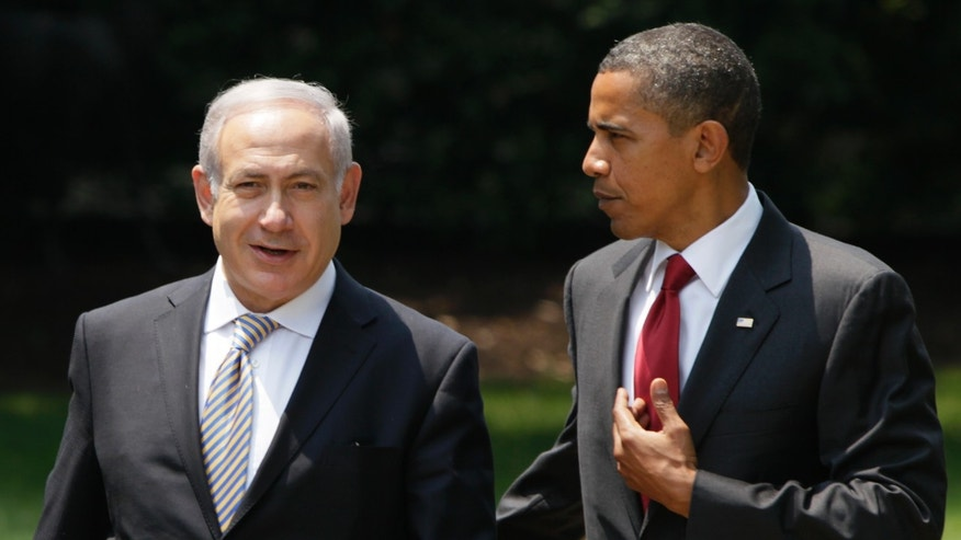 FILE - In this July 6, 2010 file photo, President Barack Obama talks with Israeli Prime Minister Benjamin Netanyahu as they walk to Netanyahu's car outside the Oval Office of the White House in Washington. After a long and chilly four years, Barack Obama hopes to reset his relationship with Israeli Prime Minister Benjamin Netanyahu with his first trip to Israel as president this spring. And it could be a step toward reopening a pathway toward peace between the Israelis and Palestinians, although Obama is carrying no big new Mideast peace plan(AP Photo/Carolyn Kaster, File)