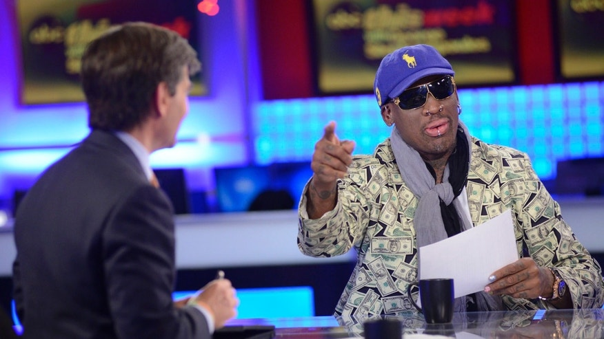 "Sunday March 3, 2013: ABC's ""This Week"" host George Stephanopoulos, left, with former NBA star Dennis Rodman at the network's New York studios."