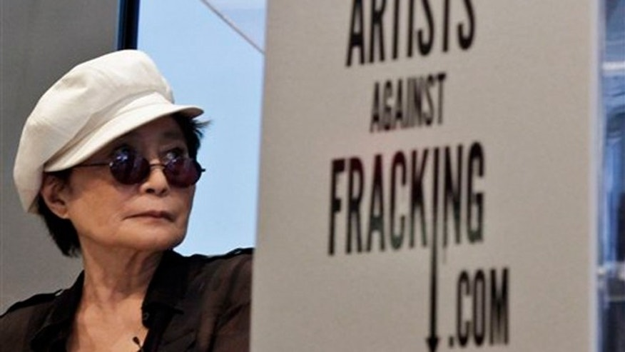 "FILE -- Aug. 29, 2012: Yoko Ono appears at a news conference in New York to launch the coalition of artists opposing hydraulic fracturing. Ono and her son, Sean Lennon, formed a group called ""Artists Against Fracking,"" which has become the main celebrity driven anti-fracking organization."