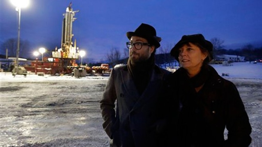 FILE -- Jan. 17, 2013: Sean Lennon and actress Susan Sarandon visit a fracking site in New Milford, Pa.